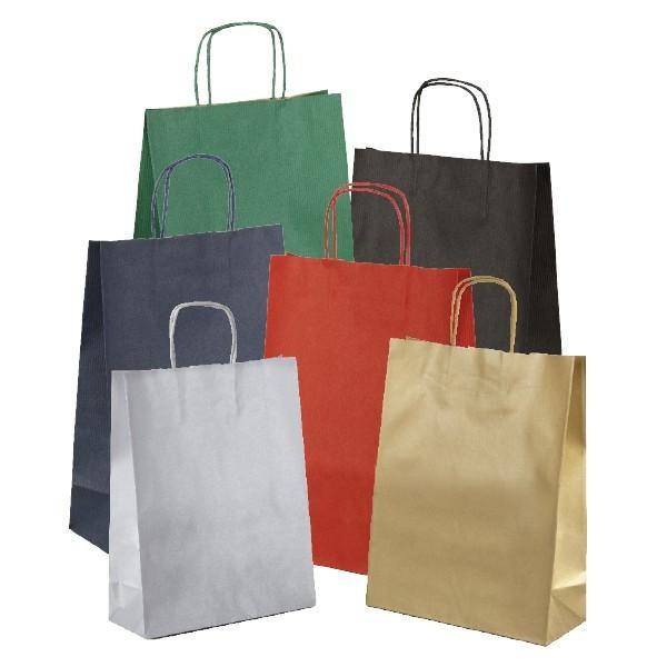 Shopper in carta colorata avana con maniglia ritorta