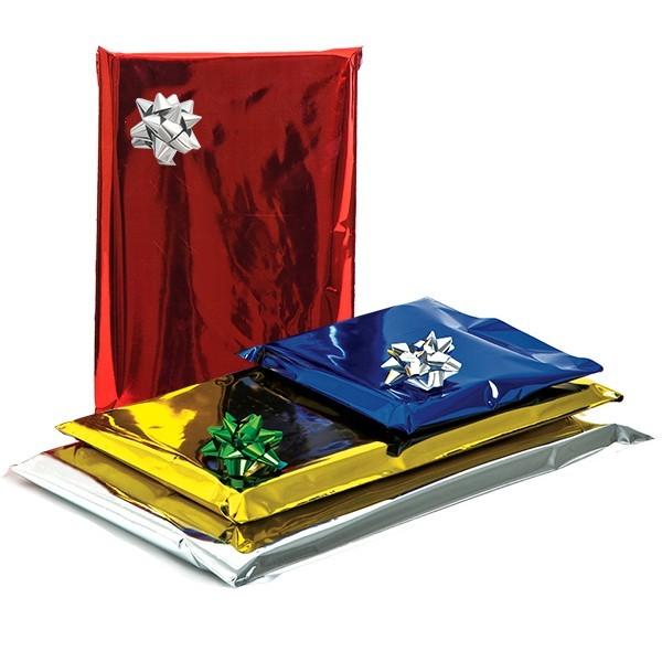 Sacchetti da regalo metallizzati con patella adesiva