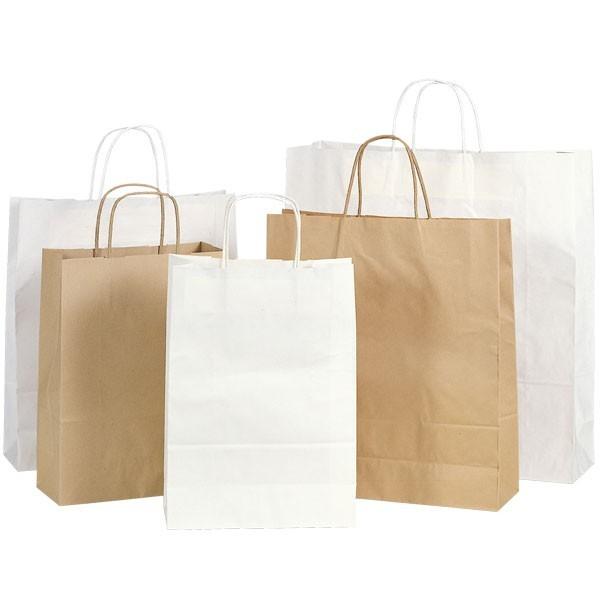 Shopper in carta avana e bianca con maniglia ritorta
