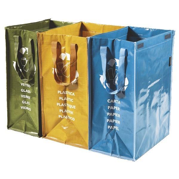 Kit 3 borse raccolta differenziata