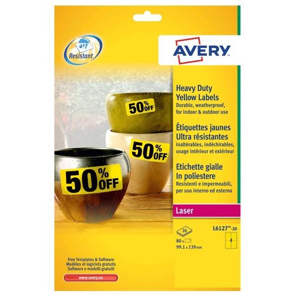 Etichette gialle in poliestere per stampanti laser