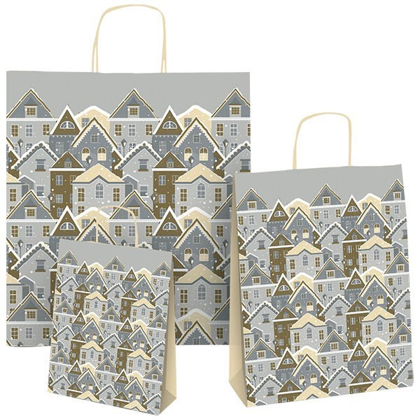 Shopper natalizie in carta Casette Innevate