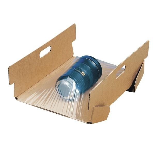 Supporto con pellicola protettiva per scatole in cartone