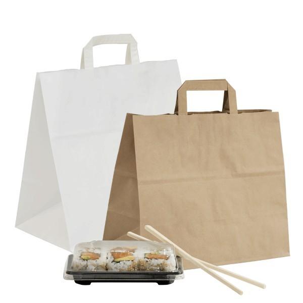Shopper in carta avana e bianche linea take away