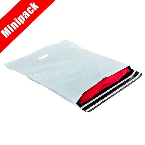 Minipack buste in plastica doppia chiusura adesiva e maniglia