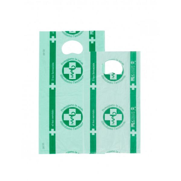 Buste biodegradabili per farmacia con manico a fagiolo