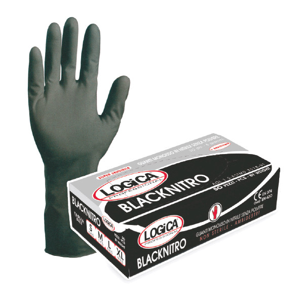 Guanto in nitrile nero Blacknitro senza polvere