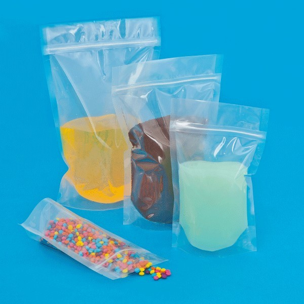Sacchetti in PE tenuta liquidi con chiusura a pressione