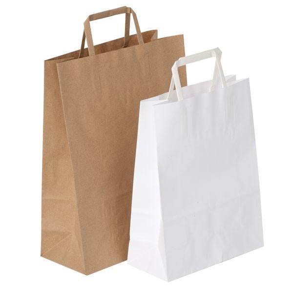 Shopper in carta avana e bianca con maniglia piatta