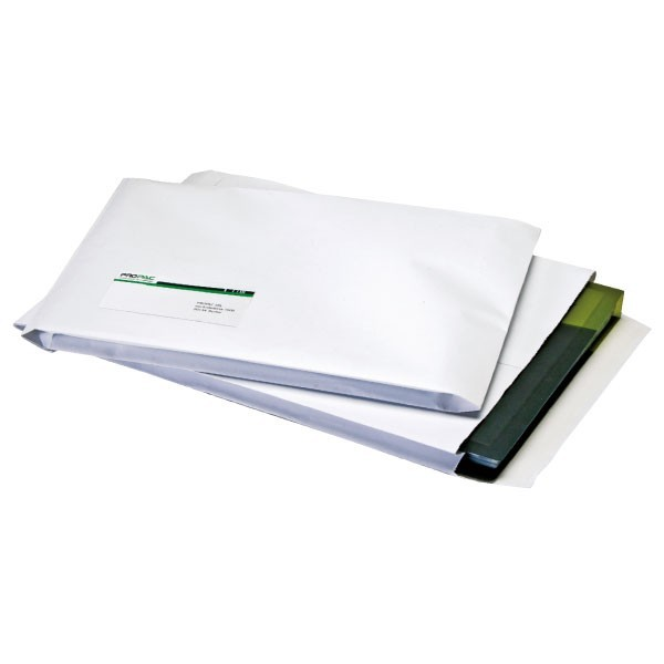 Buste bianche con soffietto in carta kraft